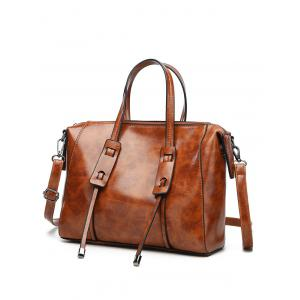Faux Leather Minimalist Vintage Tote Bag with Strap -
