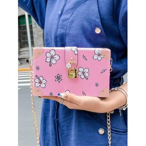Chic Flower Print Square Metal Chain Crossbody Bag -