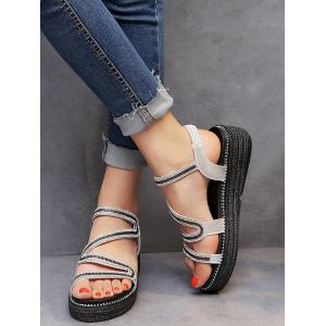 Crystals Elastic Band Platform Heel Sandals -