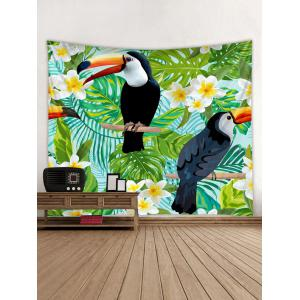 Tropical Plants Toucan Print Wall Decorative Tapestry -