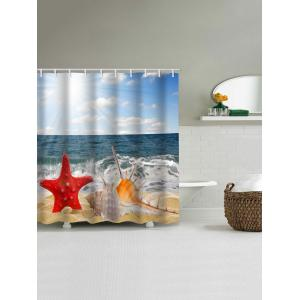 Sea Waves Beach Starfish Shell Printed Bath Curtain -