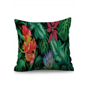 Tropical Leaf Print Decorative Linen Sofa Pillowcase -