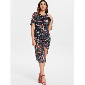 Floral Ruched Cut Out Dress -