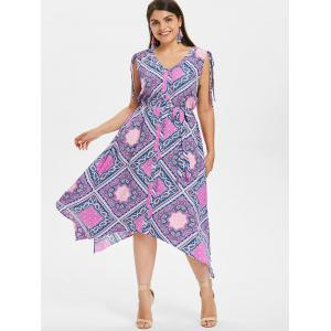 Ethnic Print Plus Size Asymmetrical Dress -