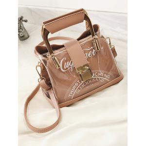 Top Metal Handle Transparent Letter Handbag with Strap -
