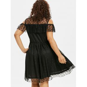 Cold Shoulder Plus Size Mesh Panel Fit and Flare Dress -