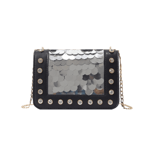 Dazzling Sequins Crystals Chain Sling Bag -