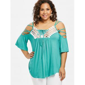 ROSEGAL Plus Size Open Shoulder Strappy T-shirt -