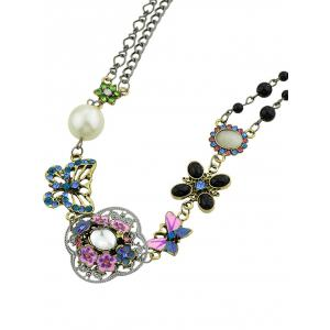 Flower Butterfly Design Faux Pearl Rhinestone Necklace -