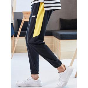 Color Block Letter Print Drawstring Jogger Pants -