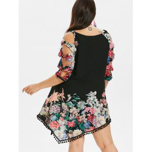 Plus Size Shredding Cut Floral Tunic Dress -