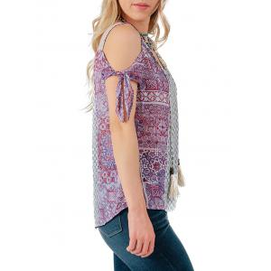 Bow Tie Sleeve Printed Casual Blouse -