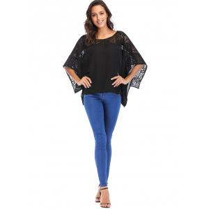 Lace Round Neck Batwing Sleeve Loose Blouse -