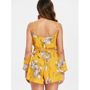 Cut Out Open Shoulder Floral Romper -