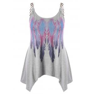 Plus Size Chains Embellished Feather Print Tank Top -