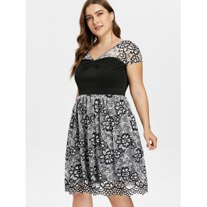 Plus Size Lace Panel Overlay Dress -
