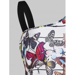 Butterfly Print One Shoulder T-shirt -