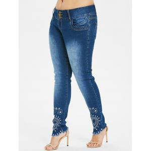 Plus Size High Waist Embroidery Jeans -