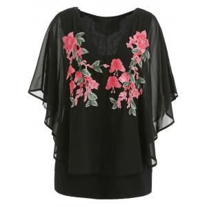 ROSEGAL Plus Size Embroidery V Neck Overlay Blouse -