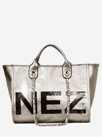 Buy Casual Outdoor Letter Print Tote Bag with Chain