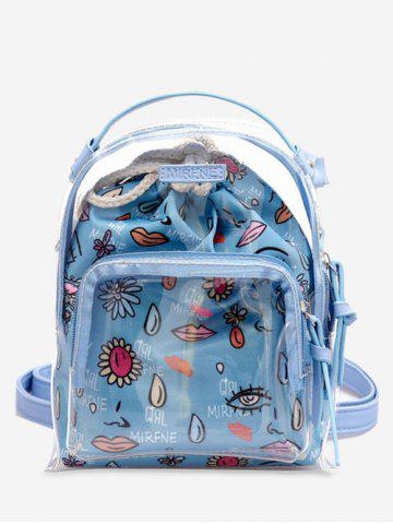 Buy Leisure Beach Transparent Print 2 Pieces Backpack Set