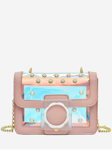 Fancy Flapped Faux Pearls Jelly Laser Crossbody Bag