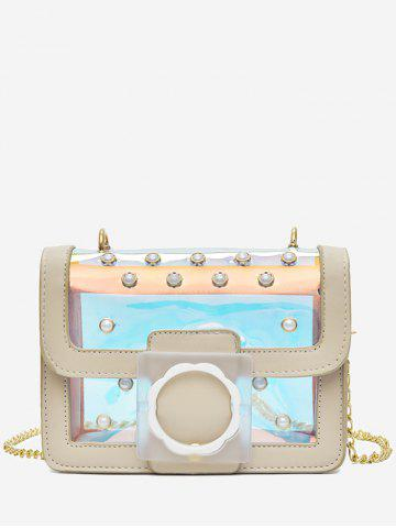 Buy Flapped Faux Pearls Jelly Laser Crossbody Bag
