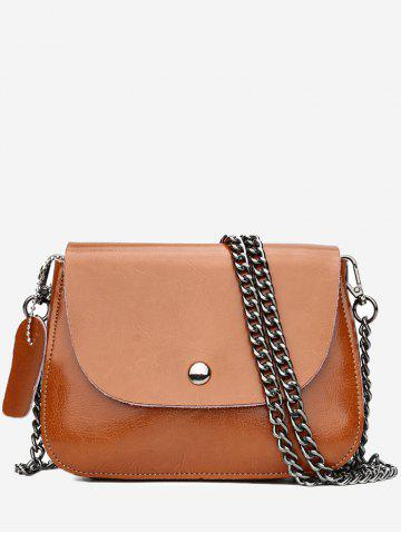 Sale Retro Faux Leather Minimalist Chain Flapped Crossbody Bag