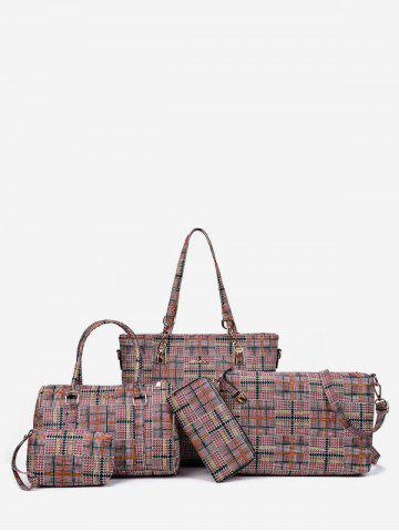 Sale 5 Pieces Plaid Large Capacity Shoulder Bag Set