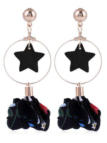 Shop Flower Cloth Wooden Star Circle Drop Earrings