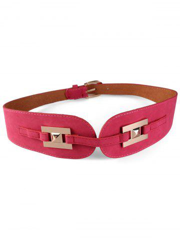 Store Unique Metal Buckle Suede Wide Waist Belt