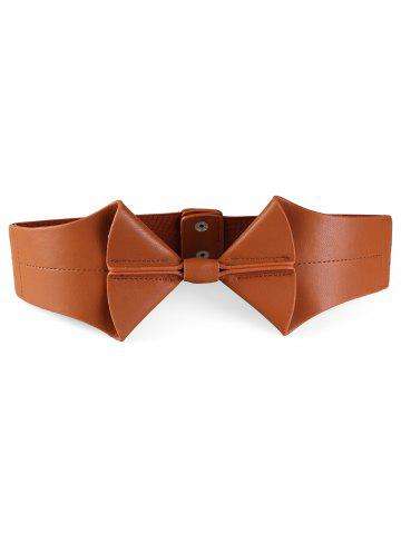 Chic Bowknot Faux Leather Elastic Wide Waist Belt