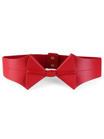 Outfits Bowknot Faux Leather Elastic Wide Waist Belt