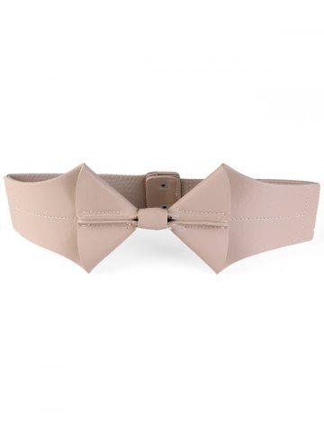 Bowknot Faux Leather Elastic Wide Waist Belt