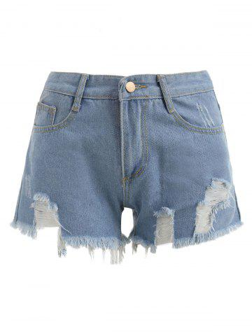 Fancy Distressed Zipper Fly Shorts