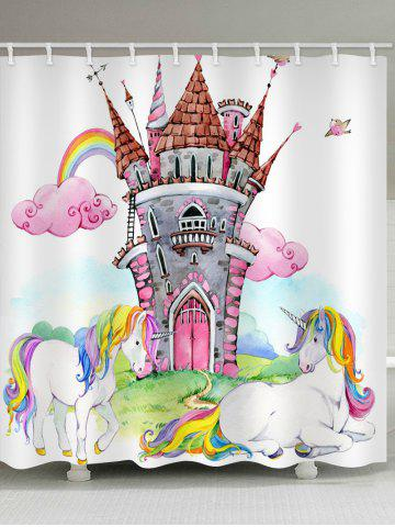 Unique Unicorn Rainbow Castle Printed Waterproof Bath Curtain