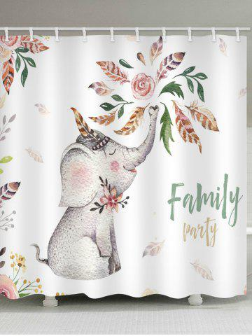 Shop Flower Family Elephant Printed Waterproof Bath Curtain