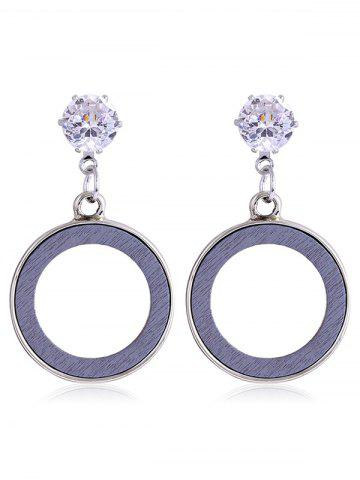 Outfit Rhinestone Inlay Wooden Round Dangle Drop Earrings