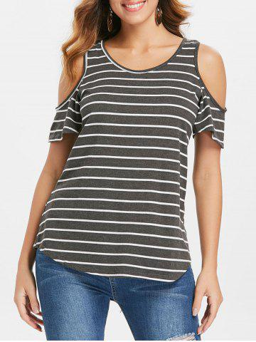 Affordable Striped Cold Shoulder Plain T-shirt