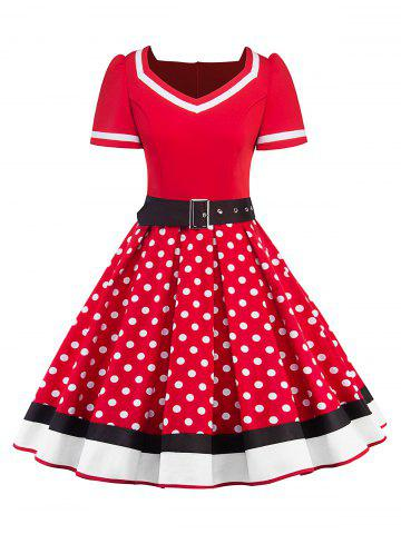 Online Sweetheart Neck Polka Dot Insert Swing Dress