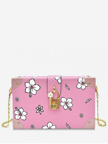 Outfits Chic Flower Print Square Metal Chain Crossbody Bag