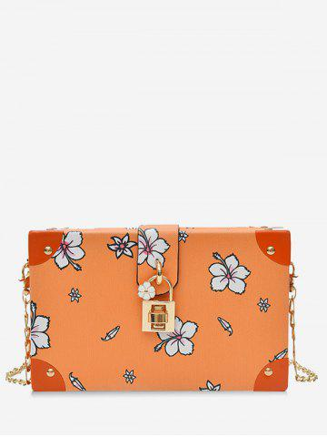 Fashion Chic Flower Print Square Metal Chain Crossbody Bag