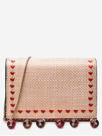 Trendy Embroidery Heart Straw Crystals Embellished Crossbody Bag
