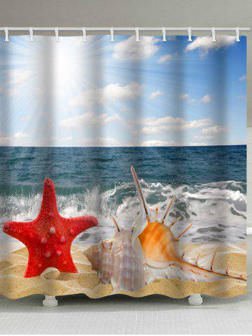 Online Sea Waves Beach Starfish Shell Printed Bath Curtain