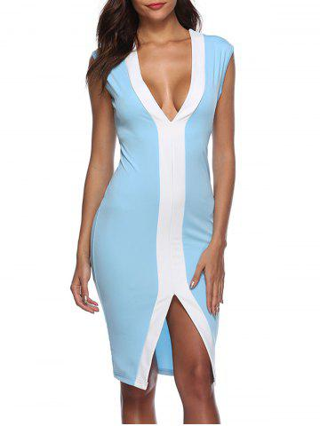 Cheap Color Block Front Slit Bodycon Dress
