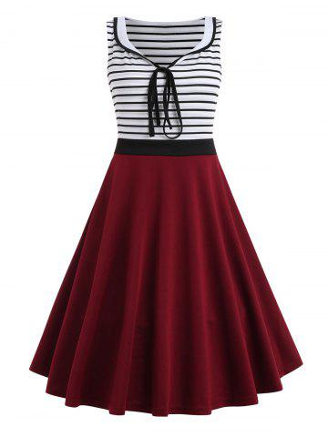 Fancy Striped Panel Sleeveless Fit and Flare Dress