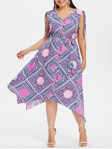Shop Ethnic Print Plus Size Asymmetrical Dress