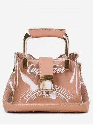 Outfit Top Metal Handle Transparent Letter Handbag with Strap