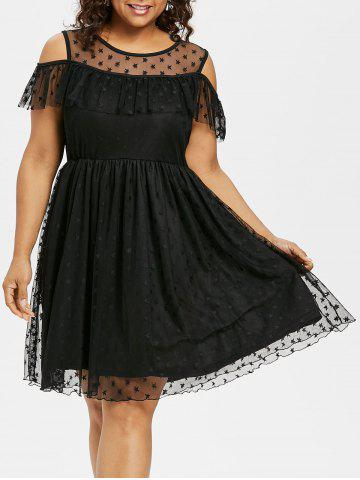 Best Cold Shoulder Plus Size Mesh Panel Fit and Flare Dress