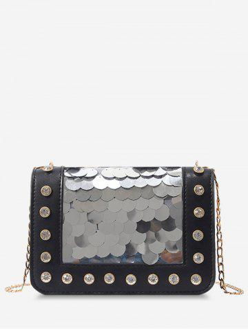 Discount Dazzling Sequins Crystals Chain Sling Bag